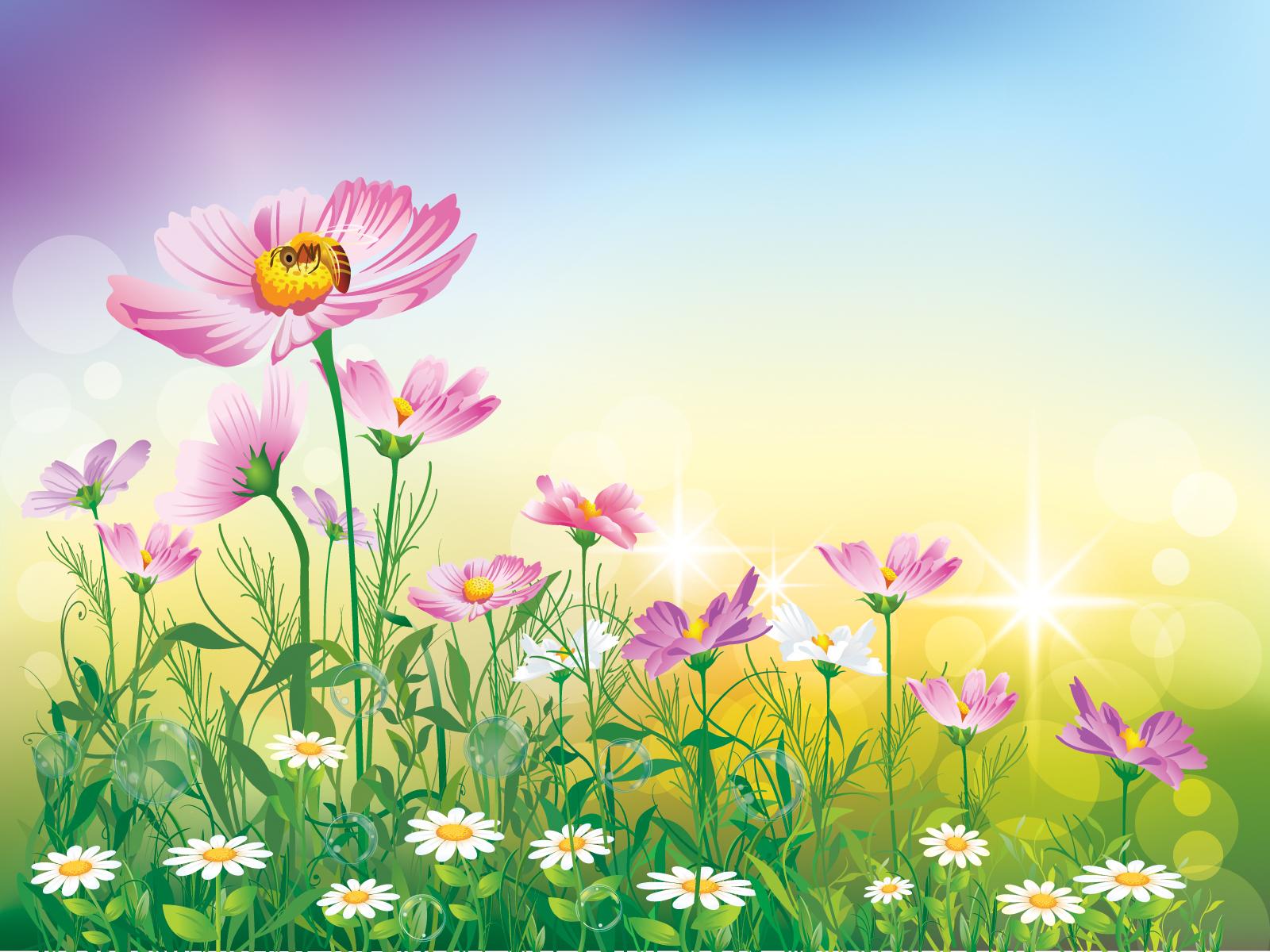 Pink powerpoint templates flowers. Background clipart flower garden