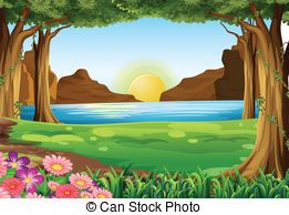Pond drawing google search. Background clipart forest