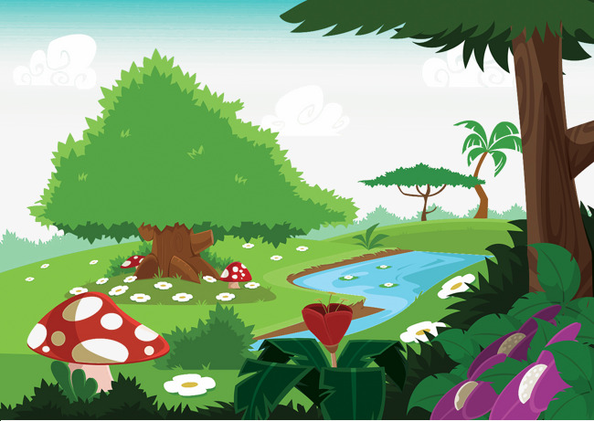 Cartoon painted plant png. Background clipart forest