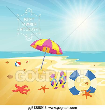 Vector art summer drawing. Background clipart holiday