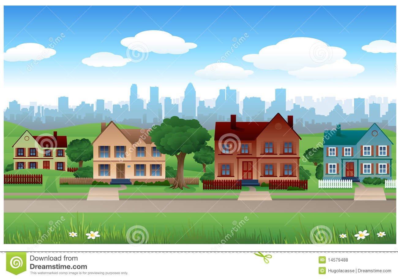 Suburb panda free images. Background clipart house