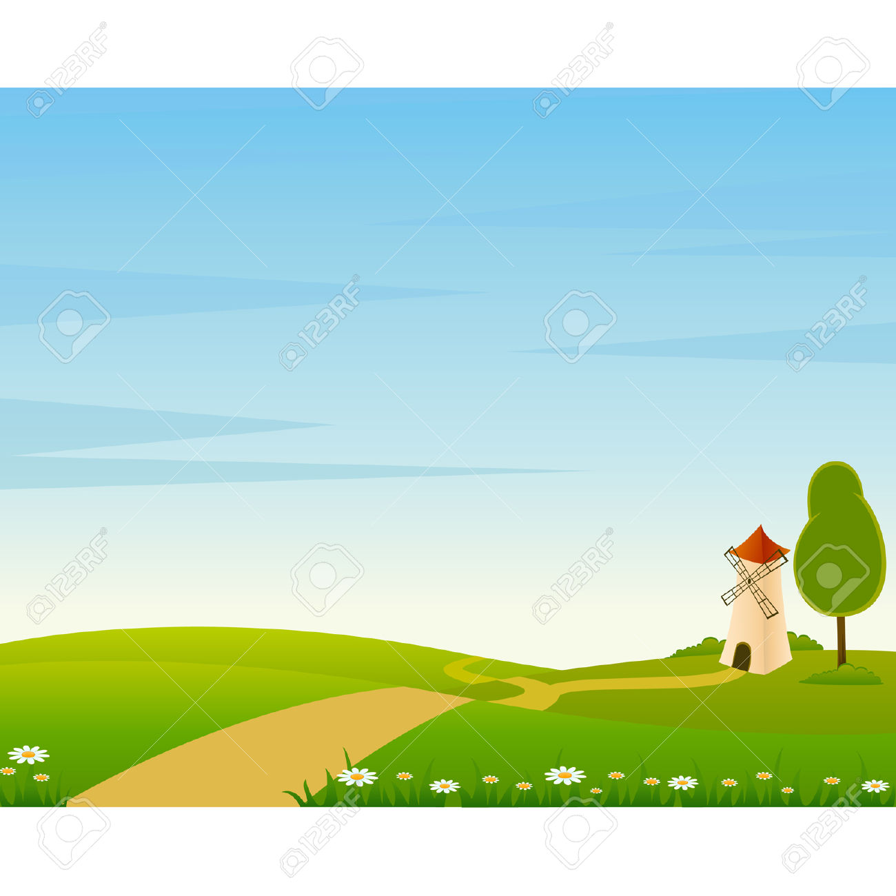 Cartoon farm . Background clipart landscape