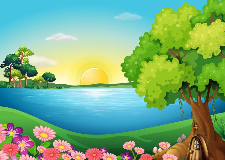 Clipart summer landscape.  best cartoon background