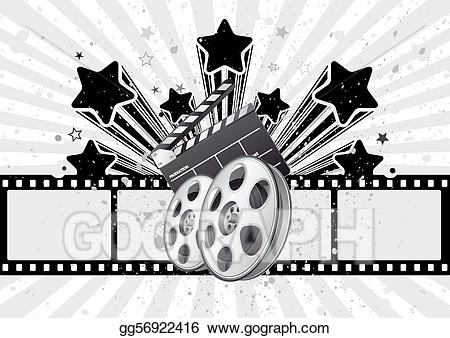 Vector art theme drawing. Background clipart movie