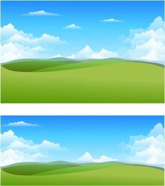 Natural landscape free vector. Background clipart nature