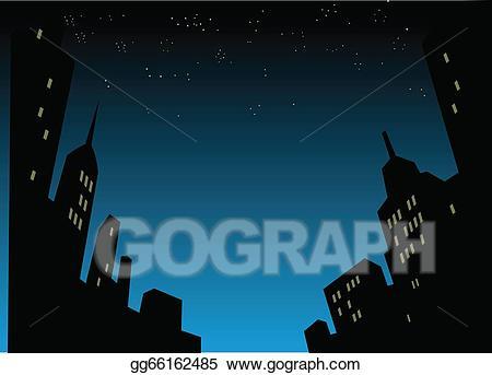 Vector illustration city skyline. Background clipart night