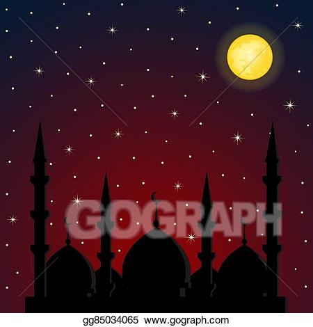 Background clipart night. Vector stock with mosque