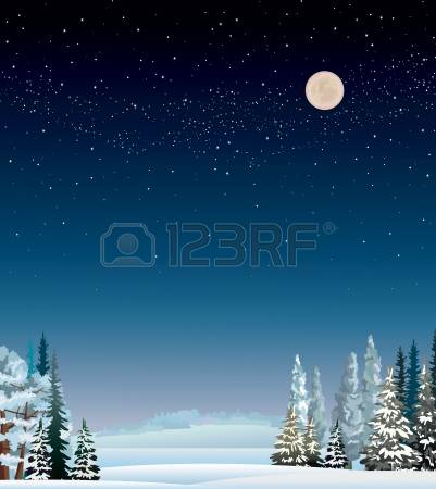 Stary snowy collection starry. Background clipart night