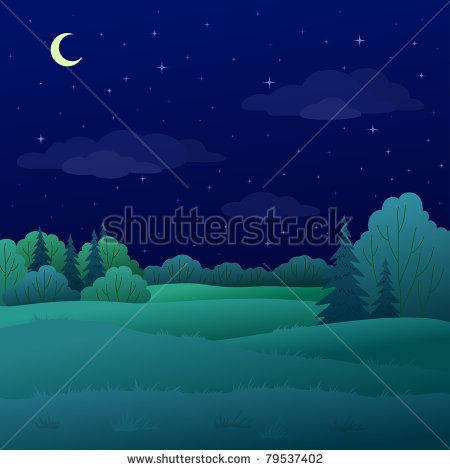 Vector summer forest with. Night clipart night landscape