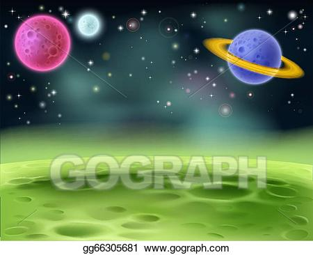 Eps vector cartoon background. Planet clipart outer space