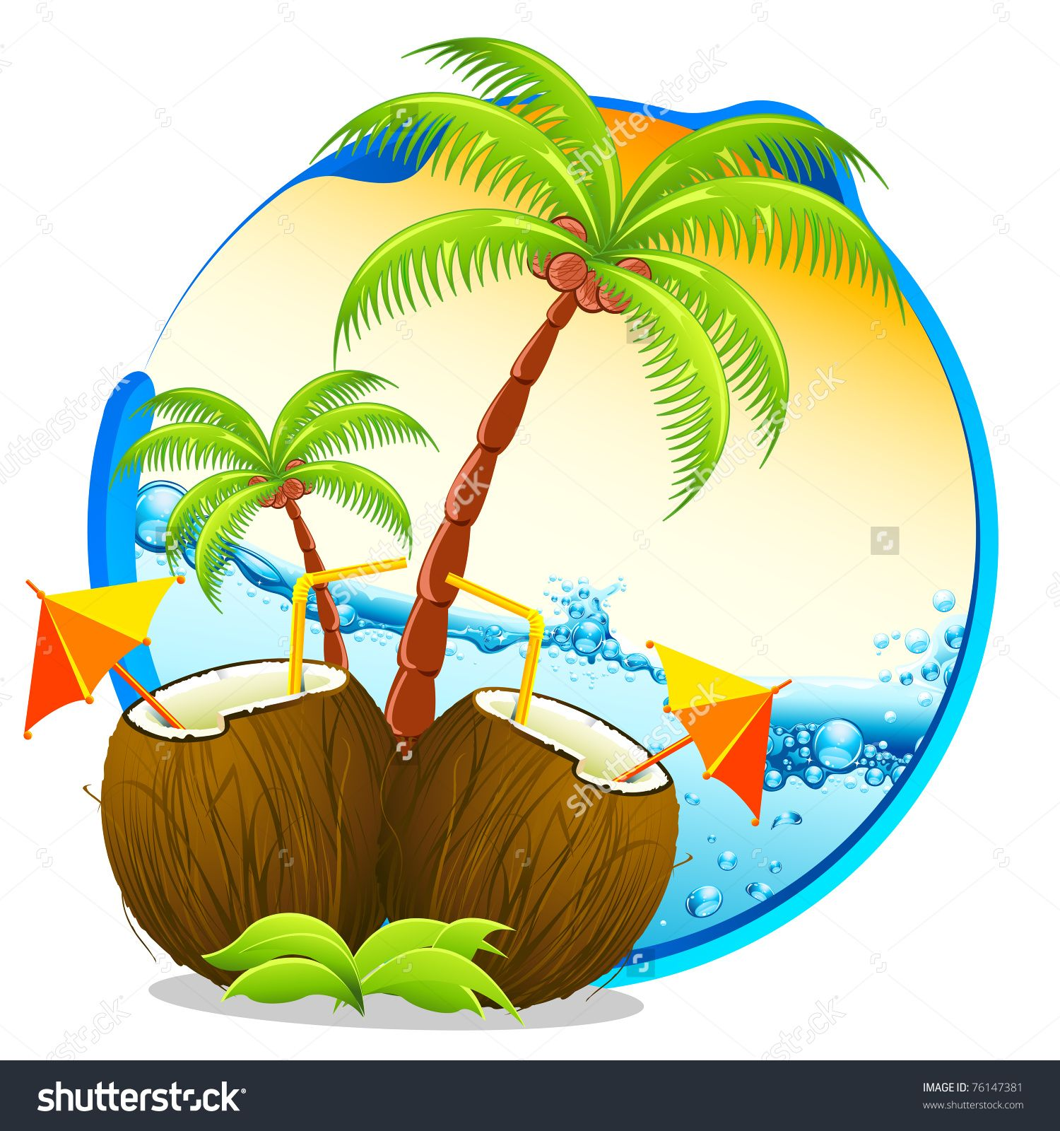 Illustration of coconut cocktail. Background clipart palm tree