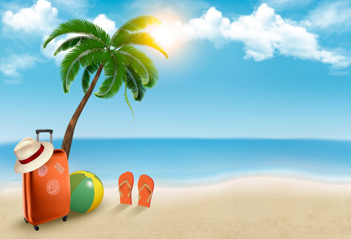 Background clipart palm tree. Beach collection clip art