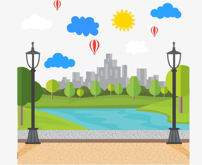 Background clipart park. Cartoon material creative png