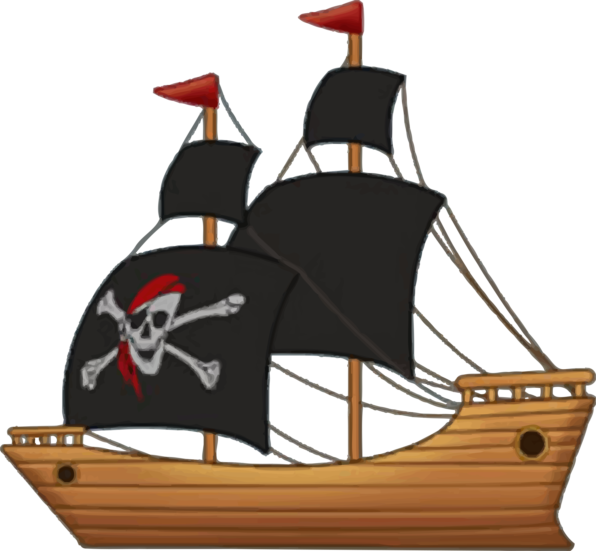 Clipart boat person. Pirate ship by firkin