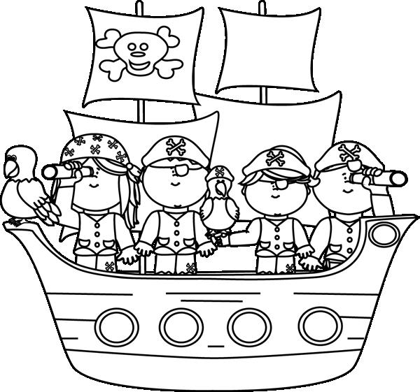 Skeleton clipart kid. Black and white pirates