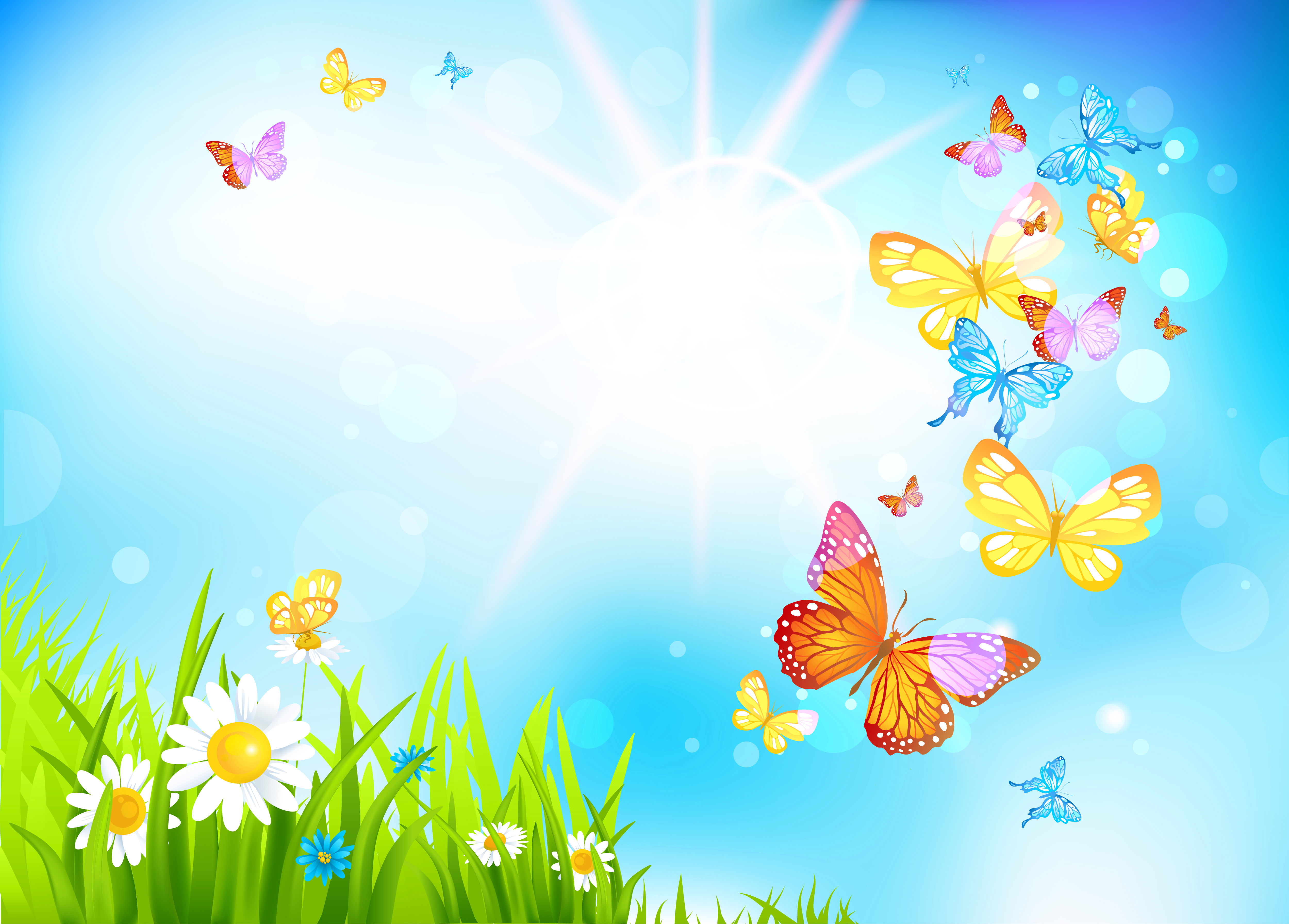 Butterflies clipart summer flower. Spring background gallery yopriceville