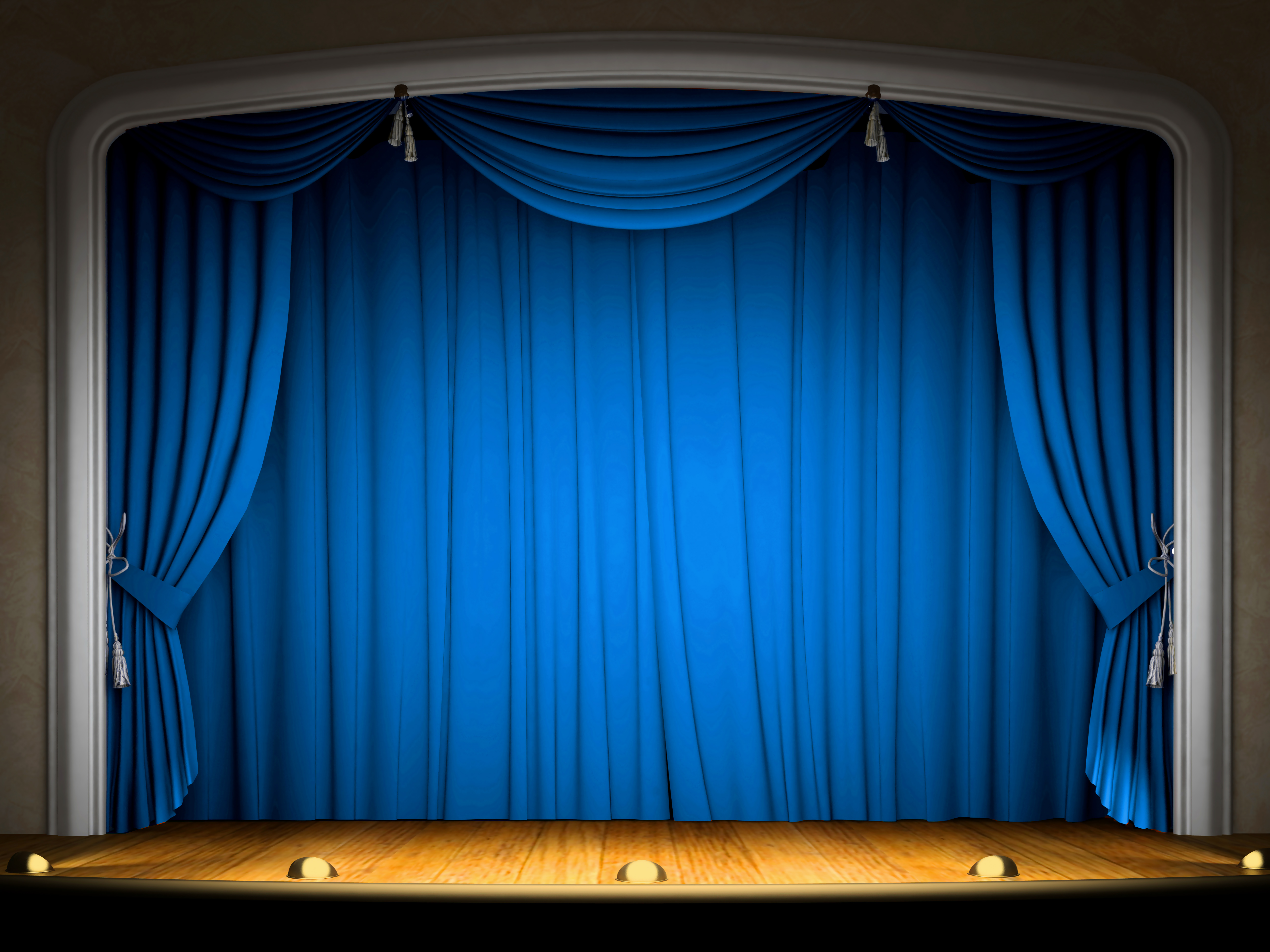 With blue curtains gallery. Background clipart stage