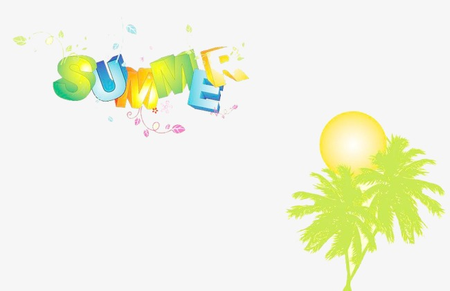 Background clipart summer. Simple coconut tree beach