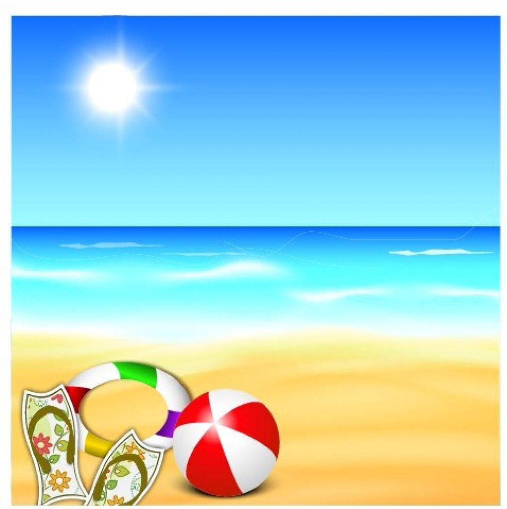 Beautiful beach vector free. Background clipart summer