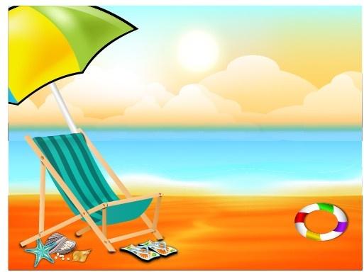 Background clipart summer. Beautiful beach free vector