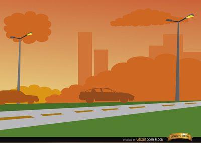 Orange on city road. Background clipart sunset