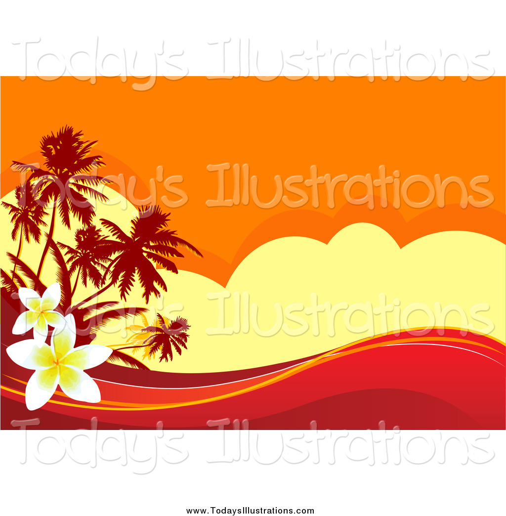 Background clipart sunset. Of a tropical with