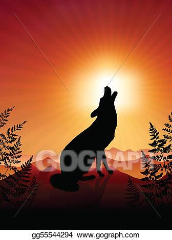 Background clipart sunset. Vector art wolf howling