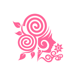 Flower pink girl with. Background clipart swirl