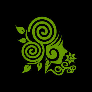 Background clipart swirl. Flower green girl with