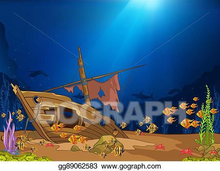 Cartoon of life stock. Background clipart underwater