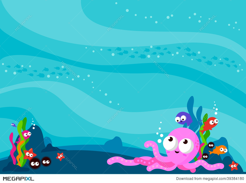 Sea animals illustration megapixl. Background clipart underwater