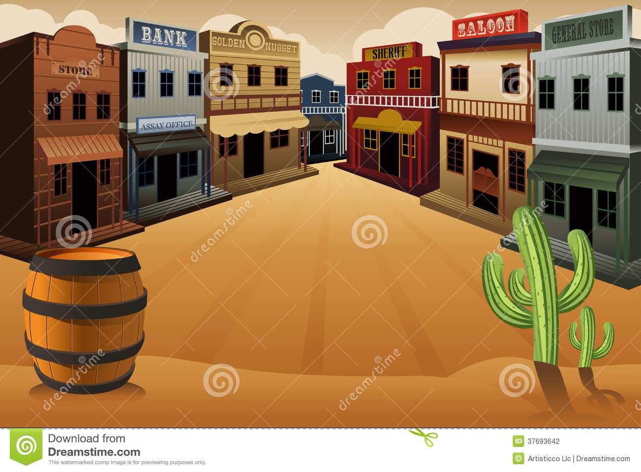 A deserted town cartoon. Background clipart wild west