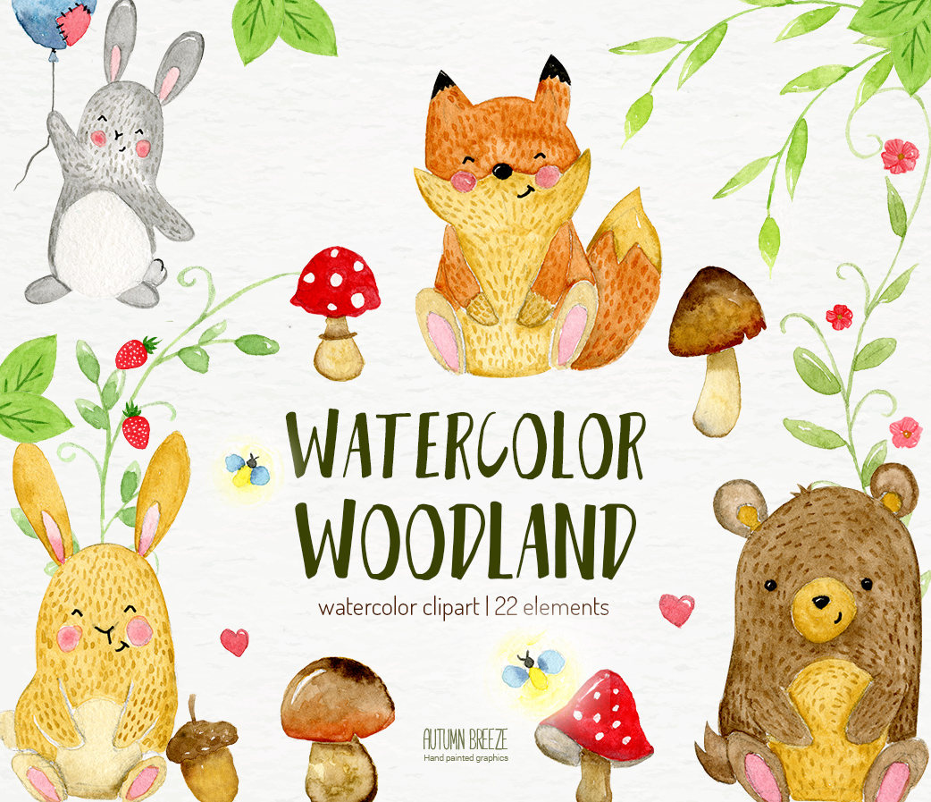Background clipart woodland. Watercolor animals forest this