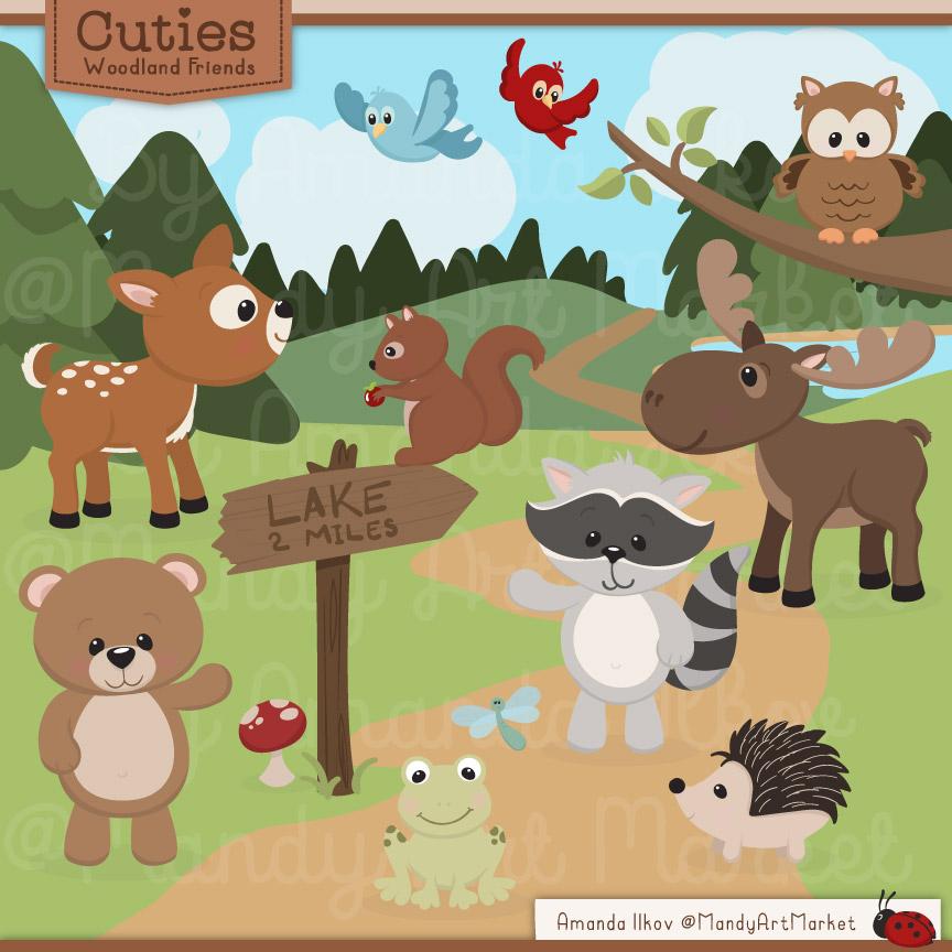 Background clipart woodland. Editable animals by thehungryjpeg