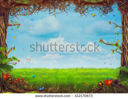Background clipart woodland. Beautiful scene with trees