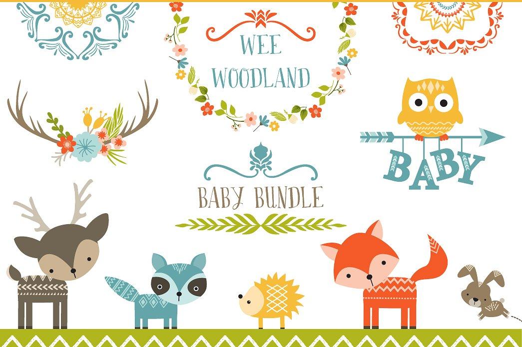 Background clipart woodland. Wee baby bundle illustrations
