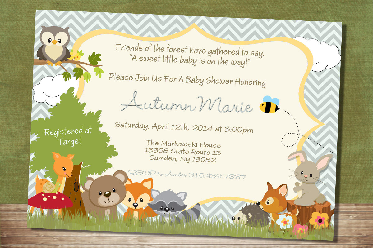Baby shower green colored. Background clipart woodland