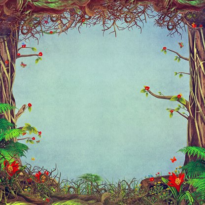 Beautiful scene with blue. Background clipart woodland
