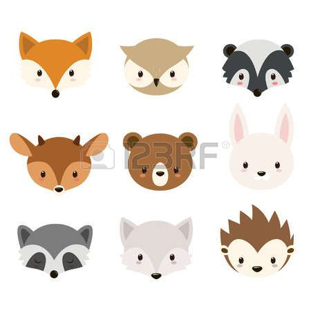 Woodlands cute animals collection. Background clipart woodland