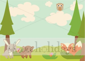 Creatures easter. Background clipart woodland