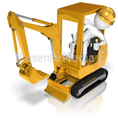 Stick figure posing in. Backhoe clipart animated