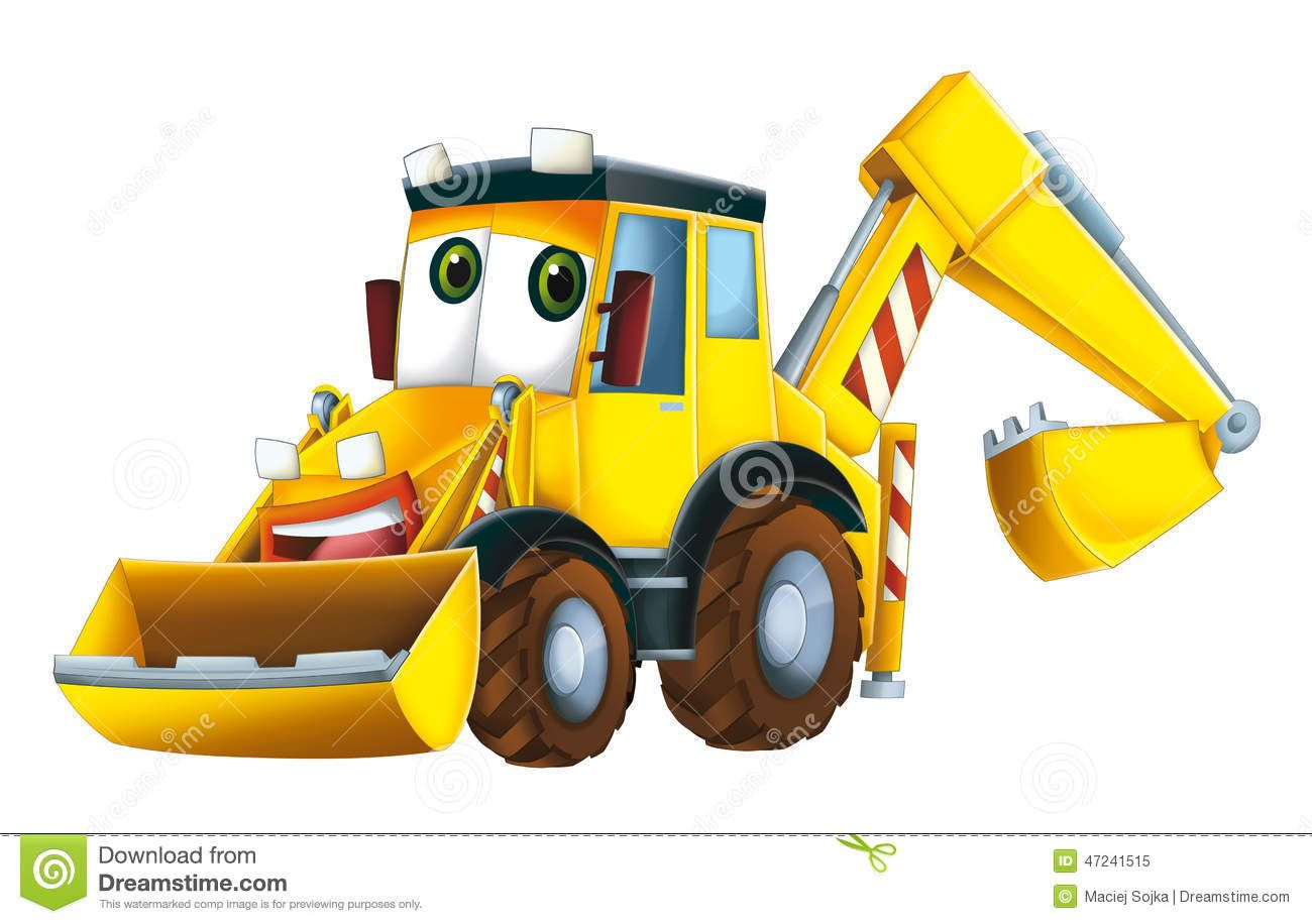 Backhoe clipart animated. Cartoon excavator royalty free