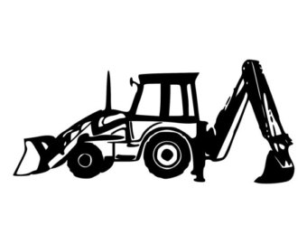 Decal etsy diecut car. Backhoe clipart backhoe tractor