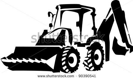 Backhoe clipart black and white. Gallery trademaster truck decal