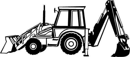 Backhoe clipart black and white. My car with
