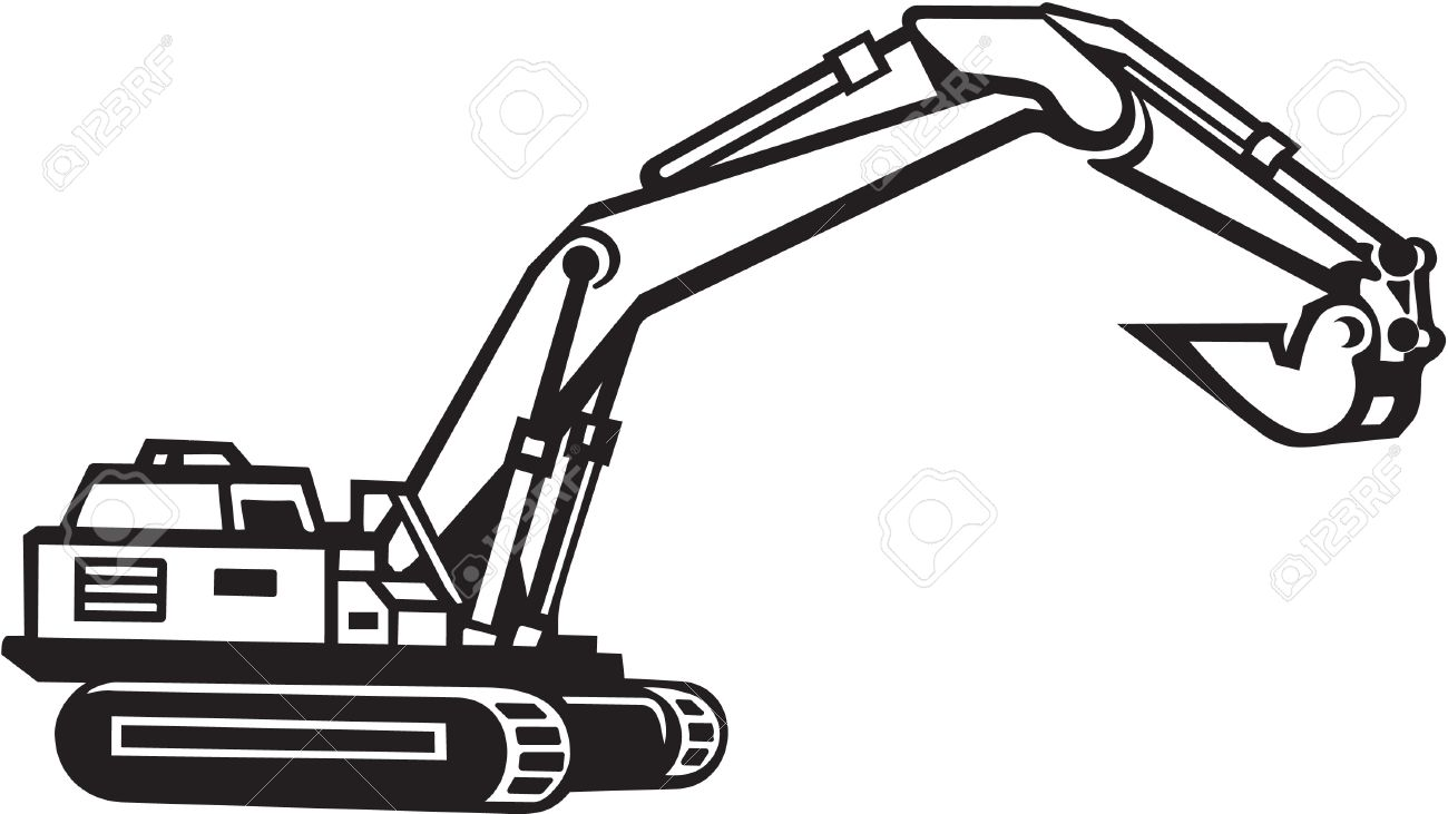 Excavator . Backhoe clipart black and white