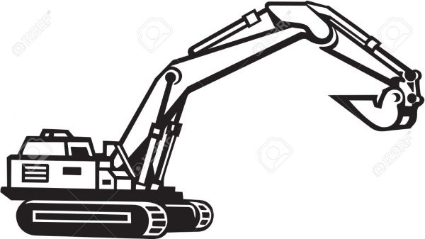 Excavator free download best. Backhoe clipart black and white