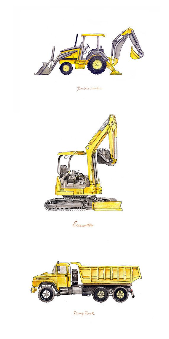 Excavator construction watercolor print. Backhoe clipart building equipment