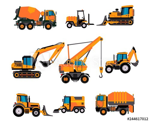 Backhoe clipart building equipment. Set of different on