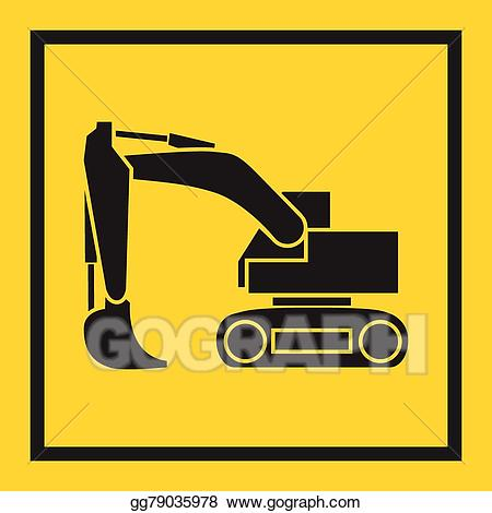 Backhoe clipart bulldozer. Vector art tractor excavator